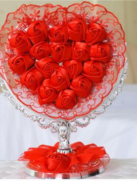 GƯƠNG ĐỂ BÀN WEDDING HOA HỒNG TIM ĐỎ 084